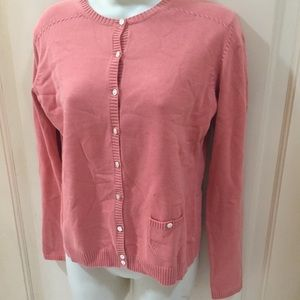 Tommy Bahama Coral Peach button down cardigan top
